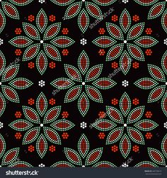 Beautiful Tile Background With Red, Green, Orange And White Dotted Flower Mosaic. Seamless Floral Pattern. Grid. Vector Illustration. - 440199619 : Shutterstock