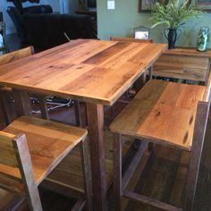 DIY kitchen table steel and reclaimed oak