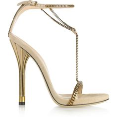 Gucci Chain-trimmed suede sandals (20.500 ARS) ❤ liked on Polyvore featuring shoes, sandals, heels, gucci, sapatos, ankle strap sandals, heeled sandals, high heel shoes, ankle wrap sandals and ankle strap heel sandals