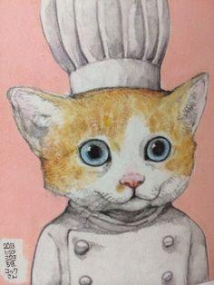 オーナーその1|higuchiyuko|note Cat Character, Orange Tabby Cats, Watercolor Paintings Abstract, Fairytale Art, Cat People, Illustration Art, Cat Illustrations, Cat Drawing, Cat Art