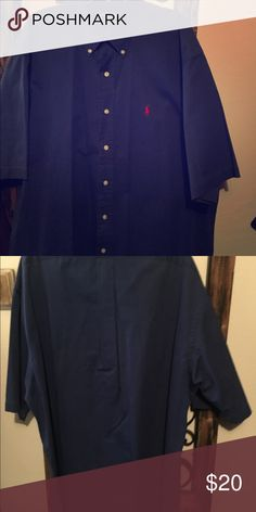 """Polo Ralph Lauren button down Blue with red Olivia horse. Short sleeve button down. Size large. In good condition! No flaws or rips! """"Blake"""" which is a relaxed fit! More like an XL ralph lauren polo Shirts Casual Button Down Shirts"""