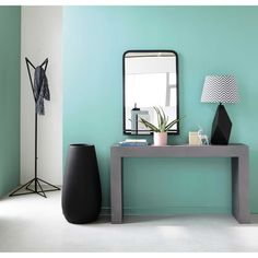 OAKLAND metal mirror and shelf in black H 91cm