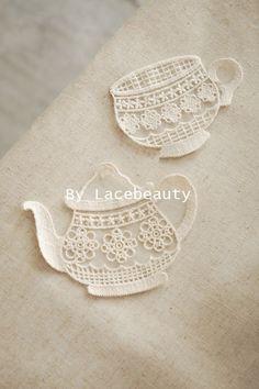 Beige Cotton Lace Appliques Lovely Cup Teapot Floral by Lacebeauty