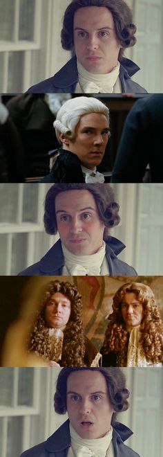That awkward moment when Jim Moriarty realized that Sherlock Holmes, John Watson & Greg Lestrade were also rocking the period wig/cravat look at the costume party. Sherlock Holmes, Sherlock Fandom, Jim Moriarty, Vatican Cameos, Mrs Hudson, Andrew Scott, 221b Baker Street, John Watson, Johnlock