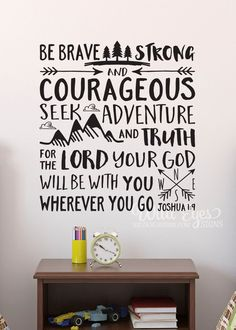 BOY NURSERY Be brave strong and courageous seek adventure and truth, Explorer Nursery, arrows, mountains,Vinyl wall decal Nursery Joshua by WildEyesSigns on Etsy