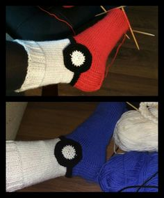 Warm knitted socks for Pokemon players. Diy Crochet Gifts, Diy Crochet And Knitting, Crochet For Kids, Loom Knitting, Crochet Clothes, Baby Knitting, Knitting Patterns, Knit Socks, Knitting Socks
