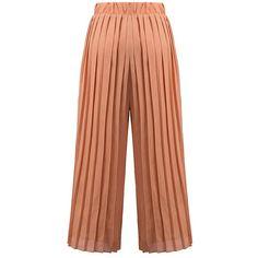 Choies Khaki Pleated Chiffon Wide Leg Palazzo Pants (16.765 CLP) ❤ liked on Polyvore featuring pants