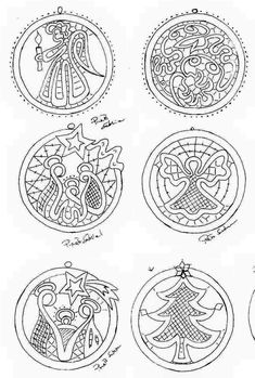 It would be fun to cut these from inch plywood or Balsa wood and then transfer the designs to be painted on them. They would make great Christmas ornaments! Diy And Crafts, Christmas Crafts, Christmas Ornaments, Bobbin Lacemaking, Bobbin Lace Patterns, Point Lace, Needle Lace, Lace Making, Filet Crochet
