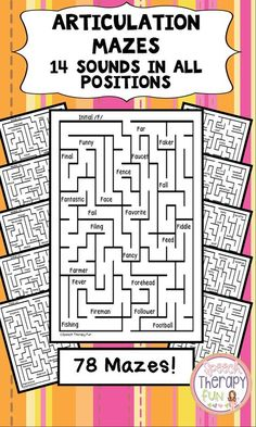 Your students will love Articulation Mazes! 2 mazes per sound per position Articulation Therapy, Articulation Activities, Speech Therapy Activities, Teaching Activities, Phonics, Speech Language Therapy, Speech Language Pathology, Speech And Language, Play Therapy Techniques