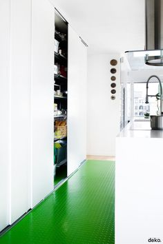 Almost #emerald green #kitchen floor. Great place for a pop of color. #trends