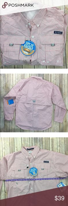 Columbia Mens Super Bahama PFG Fishing Shirt S, size small -mesh lining: 100% polyester -53.0% Nylon, 47.0% Tactel Nylon -Omni-Shade UPF 30 sun protection -Vented for comfort -Roll-up sleeves with tab holders -Rod holder Product -Quick dry fabric Columbia Shirts