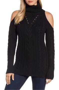 Cold Shoulder Black Turtleneck Cable Sweater 7d7f84756