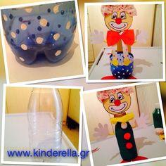 Πολύχρωμοι κλόουν από μπουκάλια -kinderella.gr