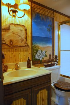Wonderful Hawaiian Beach Themed Mural By Tom Taylor Of Wow Effects, Painted In A  Bathroom In