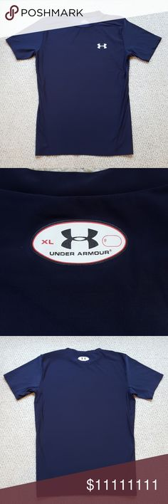 """Under Armour Top EUC Dark blue crew neck top. 34"""" chest. Please see sizing chart for fit. Could be worn as XL boy/SM mens...or ladies... ❤From a smoke & pet free home❤ Under Armour Shirts"""