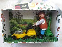 Geldgeschenk-Box für einen Rasenmäher oder Garten