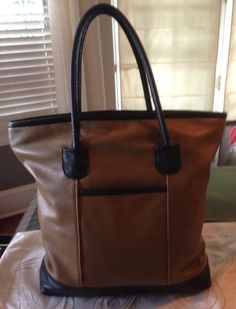 Two-toned leather tote bag re-purposed from an old leather coat.