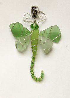 Sea Glass Dragonfly Pendant in Shades of Blue by oceansbounty, $18.00