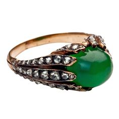 Antique Chrysoprase Rose Diamond Gold Ring (via @1stdibs)