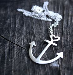 anchor necklace sterling silver anchor pendant with by LolaAndCash, $50.00