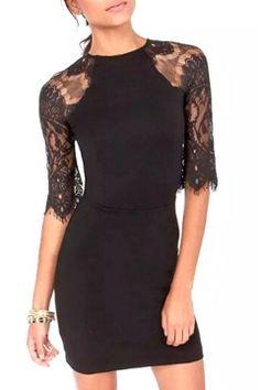 Black Lace Crochet Half Sleeve Bodycon Dress