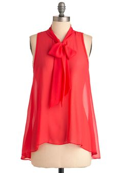 Sheer Style Top - Mid-length, Pink, Solid, Casual, Sleeveless, Tent / Trapeze, Top Rated