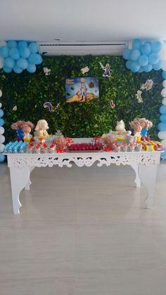 Mesa de cha de fraldas pequeno principe diy pelucia bolas artesanato doces pirulitoa festa