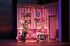 "Junior Josiah Robinson (Emmett Forrest) and Senior Julia Rucker (Elle Woods) sing ""Chip on my Shoulder."" Photo courtesy of Shawn D. Irish, Assistant Professor of Theatre."