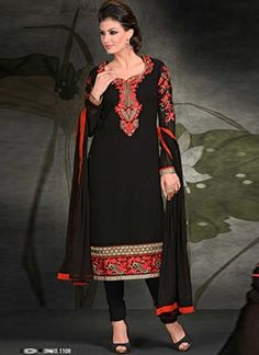 Fantastic Black Embroidery Work Georgette Churidar Suit #Suits #Salwar   http://www.angelnx.com/Salwar-Kameez