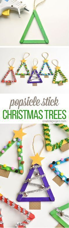 Popsicle Stick Christmas Trees by One Little Project and other great DIY holiday decor