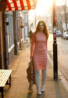 spring dress, overknee laarzen, overknee boots, so v's choice, so v's choice webshop, zomerjurkje, lentejurkje, zalmkleurig jurkje, roze jurkje, bodycon dress, februari 2015, gesponsorde post, outfitpost, fashion is a party outfits, klassiek jurkje, lichte overknee laarzen, over the knee laarzen, h&m conscious collection, h&m overknee boots, boho jacket, bershka