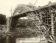 Nearly Completed Oregon City Bridge with Scaffolding - 1922
