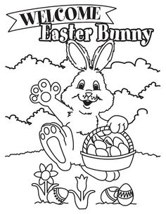 Printable Easter Bunny And Printables Happy Coloring Pages Free