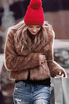 Faux, fur jacket and Red beanie hat with denim Fur Fashion, Fashion Week, Look Fashion, Sporty Fashion, Runway Fashion, Fashion Trends, Looks Style, Style Me, Faux Fur Jacket