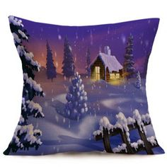 Christmas Winter Snowing Throw Pillow Case