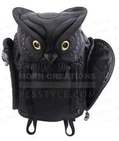 Owl Backpack (L), Black , L Size - Morn Creations   YESSTYLE