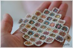 Teeny tiny granny squares for doll house… wish I could see to do something this small!