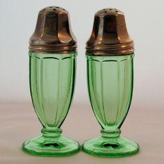 Vintage Depression Green Glass Ribbon Salt Pepper Shakers and Plate by Hazel Atlas from Antik Avenue on Ruby Lane SOLD! #vintage #rubylane #depression