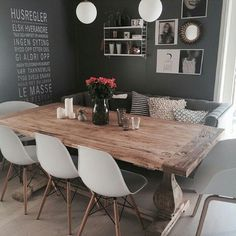 What about this stunning diningroom! Credit: What about this stunning diningroom! Credit: What about this stunning diningroom! Credit: What about this stunning diningroom! Dinning Table, Dining Sofa, Wood Table, Dining Room Design, Dining Rooms, Home Fashion, Home And Living, Small Living, Room Inspiration