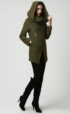 Womens Short Green Wool Coat with Oversized Hood - Asymmetrical Design - Moss Green - Unique Womens Coat (1128)