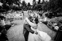 First kiss as Mr. & Mrs. on the Garden Terrace.    Photo Credit: Juliana Laury Photography #brandywinemanorhouse