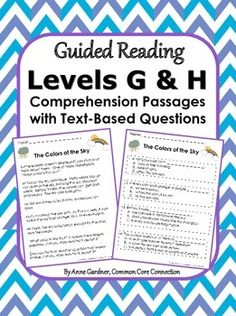 Text-based multiple choice and written response questions for Guided Reading Levels G and H.  Handy for work work, small group instruction, close reading lessons and homework.  ($)