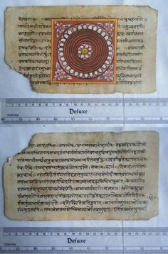 Rare Original Antique Old Manuscript Jain Cosmology New Hand Painting India#631