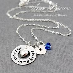 "Personalized Hand Stamped ""Forever in My Heart"" with Initial Necklace"