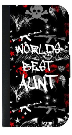 World's Best Aunt- Graffiti Punk Style Apple iPhone 7 Plus PU Leather and Suede Wallet Style Phone Case Made in the USA. Quality Sturdy Wallet Phone Case with Magnetic Flap Closure and 3 Inner Pockets for Storage; Compatible with the Apple iPhone 7 Plus/7+ phone model (Not Compatible with the Standard Apple iPhone 7). Quick Processing and Shipping! Satisfaction Guaranteed!. Vibrant Flat Printed Design; No Textured/3d/Metallic Print. Rosie Parker's designs and images are registered with…