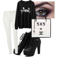 Meow by mariamakbbh on Polyvore featuring polyvore, fashion, style, River Island and Chanel