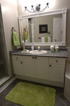 Bathroom Small Green Rug On Black Ceramic Floor Tile Paired With White Vanity And Decorative Bathroom Mirror Frame Design Gorgeous Bathroom Mirror Frames Ideas Built In Mounting Sink Cabinet Vanity