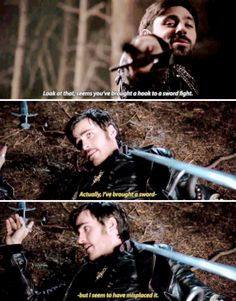This would actually be me in a sword fight *excuse me sorry if I could. just pick up my weapon that would be grand* Best Tv Shows, Best Shows Ever, Favorite Tv Shows, Movies And Tv Shows, Once Upon A Time Funny, Once Up A Time, You Found Me, Killian Jones, Killian Hook