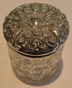 Antique English Sterling Silver Lidded Vanity Jar - 1901