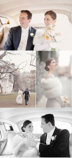 Winter wedding featured on Photography by Elisabeth Millay {click the SMP link for the whole shebang! Fur Wrap Wedding, Winter Wedding Fur, Winter Bride, Luxe Wedding, Christmas Wedding, Gold Wedding, Vintage Fur, Vintage Bridal, New York Wedding